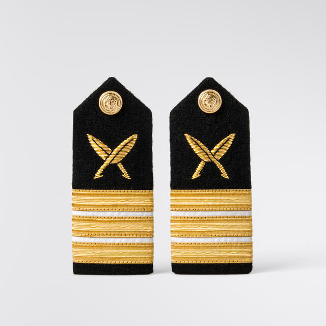 ScanEpaulets Women 3 gold stripes w/white & quill